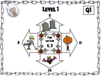 Halloween Escape Room Math: Least Common Multiple Game (4th 5th 6th 7th Grade)
