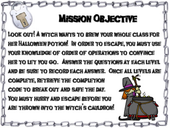 Halloween Escape Room Math: Order of Operations Game (4th 5th 6th 7th Grade)