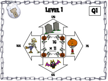 Halloween Escape Room Math: Two Digit Multiplication Game for 3rd 4th 5th Grade