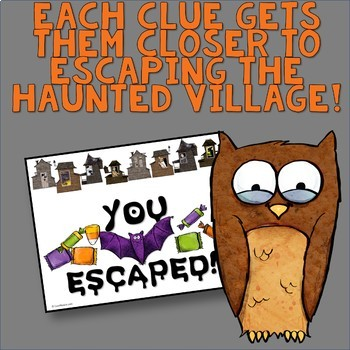 Halloween Escape the Haunted Village Multiplication Activity - Digital & Paper