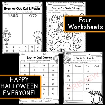 Halloween Math: Even/Odd Write the Room & Worksheets