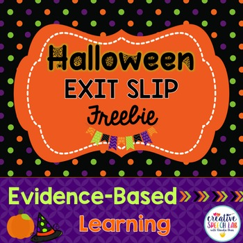 Halloween Exit Slip Freebie for Articulation, Language and Social Skills