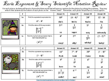 Halloween Exponent Rules & Scientific Notation Activity