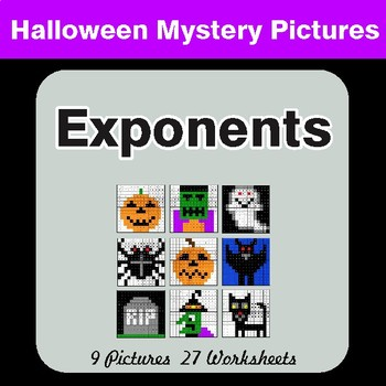 Halloween Math: Exponents - Color-By-Number Math Mystery Pictures