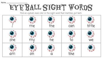 Halloween Eyeball Sight Word Center