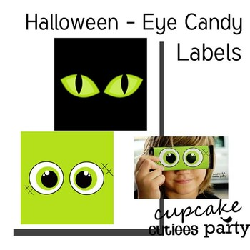 Halloween Eyes Candy Wrappers Favor Hand out Classroom Party Favor Printable