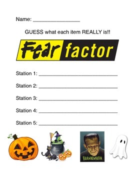 "Halloween FEAR FACTOR Game ""Guess Sheet"""