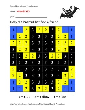 Halloween FREE - Bat - Color by Numbers!