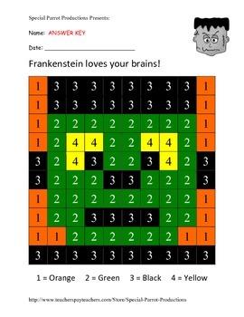 Halloween FREE - Frankenstein - Color By Numbers!
