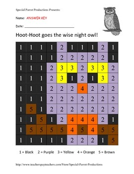 Halloween FREE - Owl - Color by Numbers!