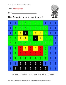 Halloween FREE - Zombie - Color by Numbers!