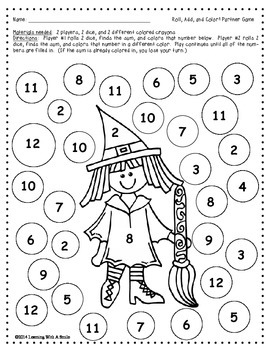 Halloween FREEBIE Math Game - Roll, Add, & Color Partner Game ~ Print & Play!