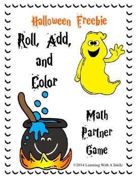 Halloween FREEBIE Math Game - Roll, Add, & Color Partner G