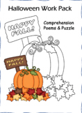 Halloween FUN FALL Poem Comprehension and puzzle work pack!