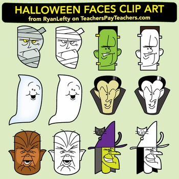"Halloween Faces and ""Topper""  Clip Art"