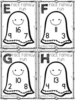 Halloween Fact Family Task Cards:  Addition & Subtraction