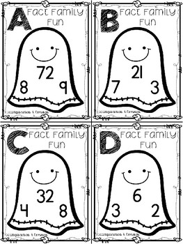Halloween Fact Family Task Cards:  Multiplication & Division