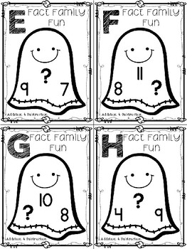 Halloween Fact Family Task Cards:  Addition & Subtraction (Missing Number)