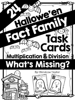 Halloween Fact Family Task Cards:  Multiplication and Division (Missing Number)