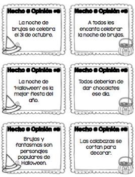 Halloween Fact & Opinion {SPANISH}