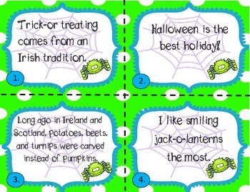 Halloween Fact and Opinion Task Card/Scoot