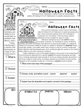Halloween Facts Close Read 5 Level Passages Fluency TDQ's Informational Text