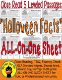 Halloween Close Reading 5 LEVEL PASSAGES Main Idea Fluency Check TDQs & More