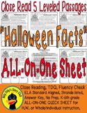 Halloween Close Reading 5 LEVEL PASSAGES Main Idea Fluency Check TDQs & More