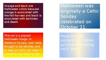 Halloween Facts Task Cards Activity