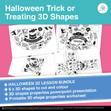Halloween Facts Trick or Treat Complete 3D shapes Maths Lesson with Powerpoint