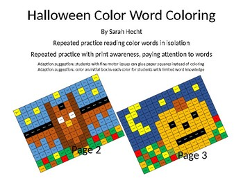 Halloween / Fall Color Word Coloring