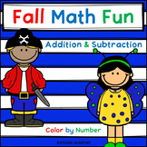Fall Math / Halloween / Costume Two Digit Addition & Subtraction Color by Number