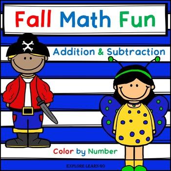 Fall Math / Halloween / Costume Two Digit Addition & Subtr