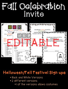 Halloween/Fall Invite to Parents (Editable)
