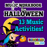 Halloween Fall Music Piano Workbook Treble Clef Bass Clef