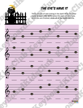 Halloween Fall Music Worksheets Bass Clef & Treble Clef Line Space Note Naming