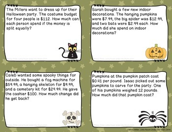 Halloween Math and Fall Party Math Task Cards