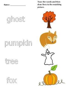 Halloween/Fall Reading Center Printable