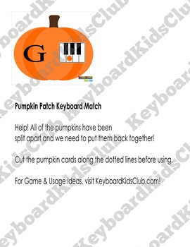 Halloween Fall Themed Piano Keyboard Note Naming Card Game