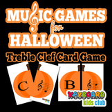 Music Games for Halloween Treble Clef Note Naming Card Gam