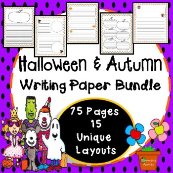 Halloween & Fall Themed Writing Paper Bundle: Color & B/W