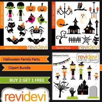 Halloween Family Party - Clip art (3 packs) commercial use for teacher seller