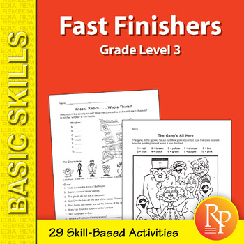 Halloween: Fast Finishers Skill-Based Activities for Third Grade
