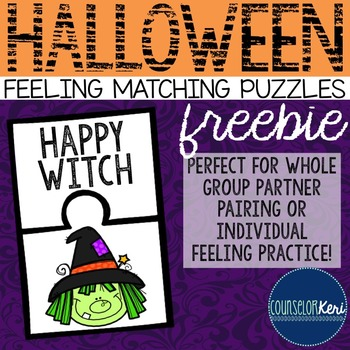 Halloween Feelings Matching Puzzles - Elementary School Co