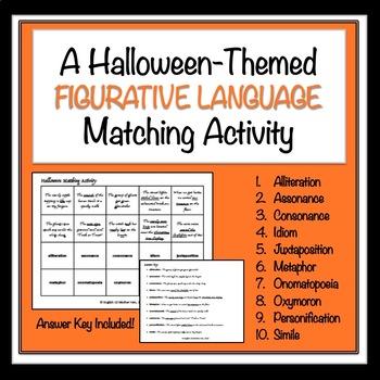 Halloween Figurative Language Matching Activity