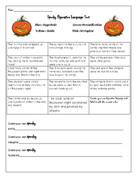 Halloween Figurative Language Sorting Worksheet