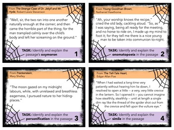 Halloween Figurative Language Task Cards for Bell-Ringers, Quizzes, Discussion