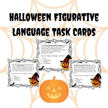 Halloween Figurative Language Task Cards Fall