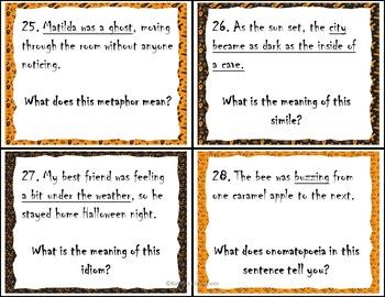 Halloween Figurative Language Task Cards Activity - ID & Explain + Writing Sheet