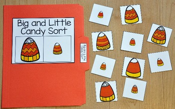 Halloween File Folder Game:  Big and Little Candy Corn Sort